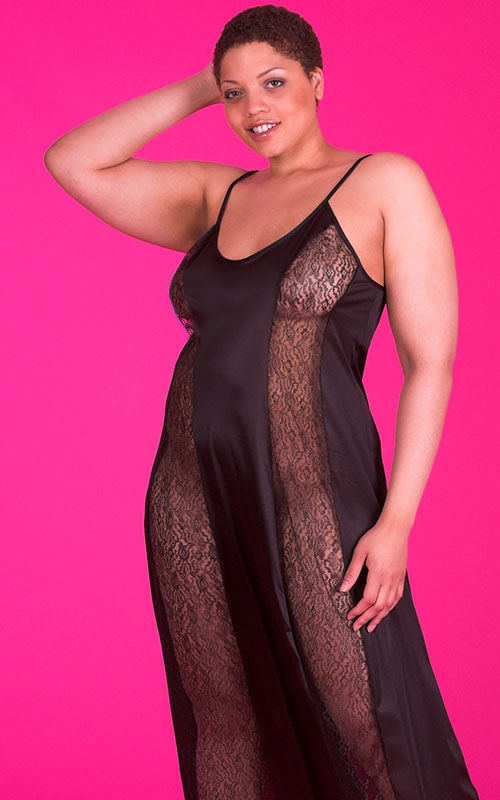 Plus Size Nightgown | Black Flirty Lace Nightgown