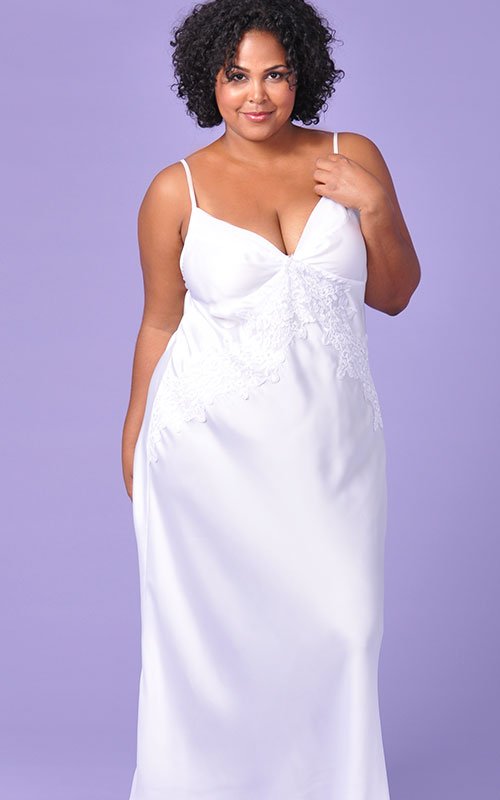 Plus Size Nightgown | Extravagance in White Bridal Nightgown