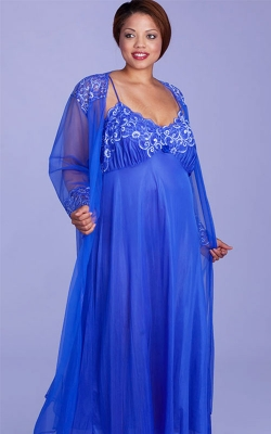 Stunning Cobalt Nightgown Peignoir