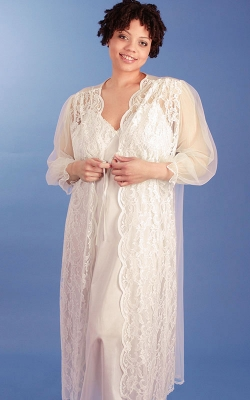 Our Candlelight Ivory Bridal Nightgown Peignoir