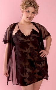 Black Chiffon Delight Chemise Set