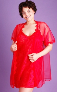 Red Chiffon Delight Chemise Set