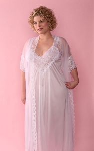 Lacy White Bridal Nightgown Peignoir Set