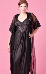 Lacy Black Nightgown Peignoir Set