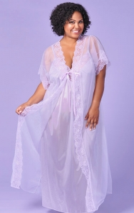 Elegant Lilac Nightgown Peignoir Set